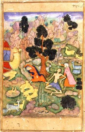 f.28a Layla and Majnun faint at their meeting, illustration to a poem of the Khamsa called 'Majnun L