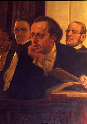 The composers Mikhail Oginski, Fryderyk Chopin and Stanislav Moniuszko (Detail of the painting Slavo