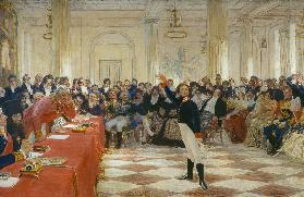 Alexander Pushkin at an examination in the Lyceum of Tsarskoye Selo on January 8, 1815