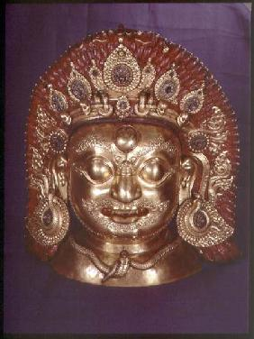 Head of Bhairava, embossed copper, painted and gilded, probably Nepalese
