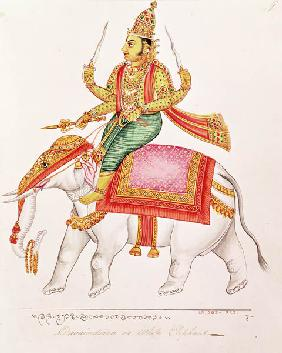 Indra, God of Storms, riding on an elephant, 1820-25
