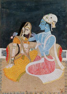 Krishna and Radha, mid-20th century, Jaipur (w/c on paper)