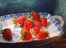 Strawberries into porcelain bowl