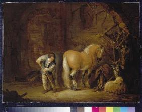 Stableview with menial, horse, sheep and billy goat