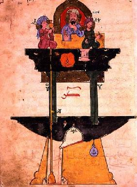 Water clock with automated figures, from 'Treaty on Mechanical Procedures' by Al-Djazari