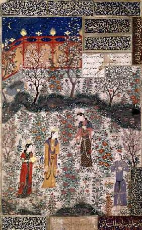 The Persian Prince Humay Meeting the Chinese Princess Humayun in a Garden