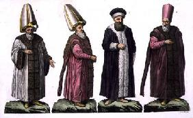 Grand Visir, Caim-Mecam, Reis-Efendi and Khodjakian, plate 15 from Part III, Volume I of 'The Histor