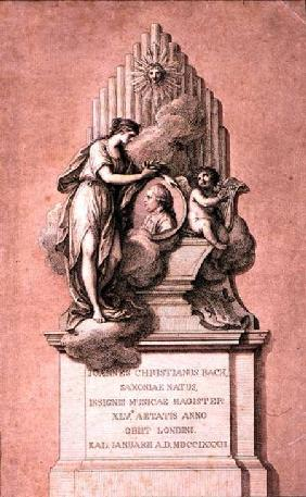 Monument to Johann Christian Bach (1735-) engraved by Francesco Bartolozzi (1727-1815)