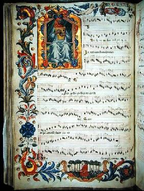 Page of musical notation with historiated initial, produced at the Florentine monastery of S. Maria