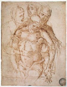 Pieta attributed to either Giovanni Bellini (c.1430-1516) or Andrea Mantegna (1430-1516)  and