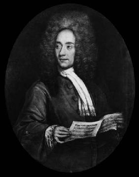 Portrait of the Composer Tomaso Giovanni Albinoni (1671-1751) Holding a Music Score  (b&w photo)