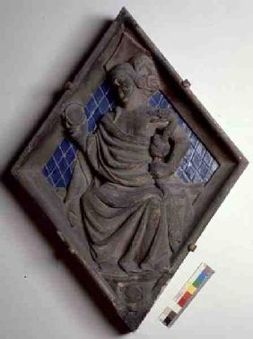 Prudence, relief tile from the Campanile