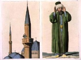 Public Muezzin and detail, plate 37 from Part III, Volume I of 'The History of the Nations', engrave
