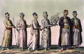Servants carrying a pipe, a vase of sweets, coffee, a brazier and a jug of rosewater, plate 57 from