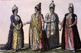 Three women in (LtoR) winter, spring and summer fashions and one in fashion for pregnancy, plate 59
