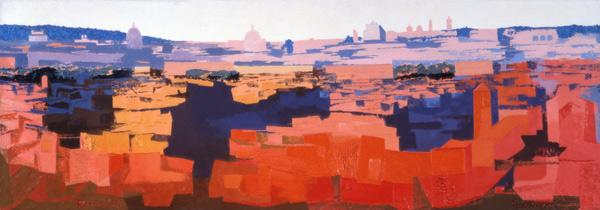 Rome, View from the Spanish Academy on the Gianicolo, Sunset, 1968 (oil on canvas) (see also 213353