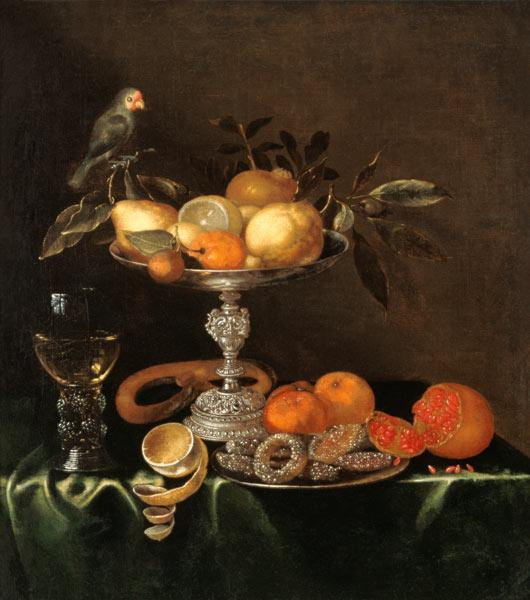 Quiet life with roman, silver Tazza, fruits, pastries and bird