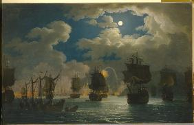 The naval Battle of Chesma on the night 26 July 1770