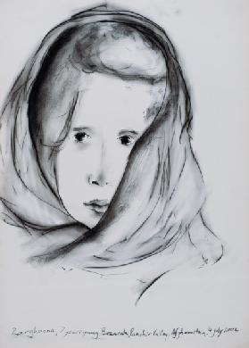 Zarghoona, Panshir Valley, Afghanistan, 4th July 2002 (charcoal on paper)
