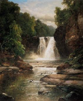 A Wooded River Landscape with Waterfall