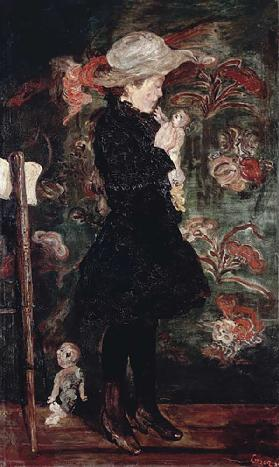 Child with doll (Madchen mit Puppe), 1884 James Ensor (1860-1949), oil on canvas, 149x91 cm. Belgium