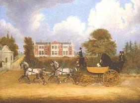 A Barouche drawn by Four Greys passing a Jacobean Mansion
