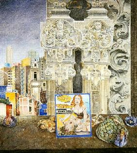 Still Life with Pornographic Magazine and Baroque Landscape, Mexico City, 2003 (oil on canvas)