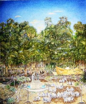 The Pensioner''s Chess Tournament in the Botanic Garden, 2001 (oil on canvas)