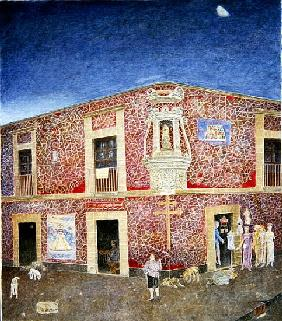 Twilight, Corner of the Piazza Loreto, Mexico City, 2004 (oil on canvas)