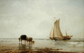 On the Beach: Two Fishing Boats and a Group of Women