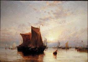 Dutch Boats Becalmed at Sunrise