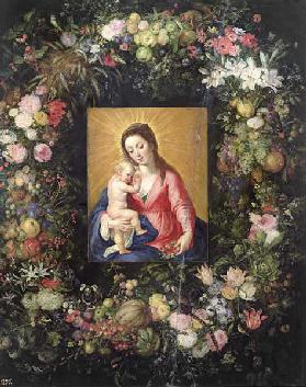 Garland of Fruit and Flowers with Virgin and Child