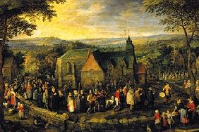 The wedding procession in the country
