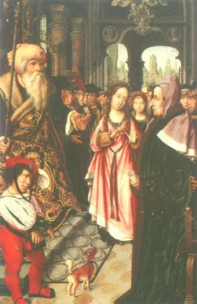 The disputation of St. Katharina (left wing of a triptych)