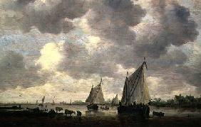 A Canal in Holland, or Two Large Sailing Ships and Cattle Near a River
