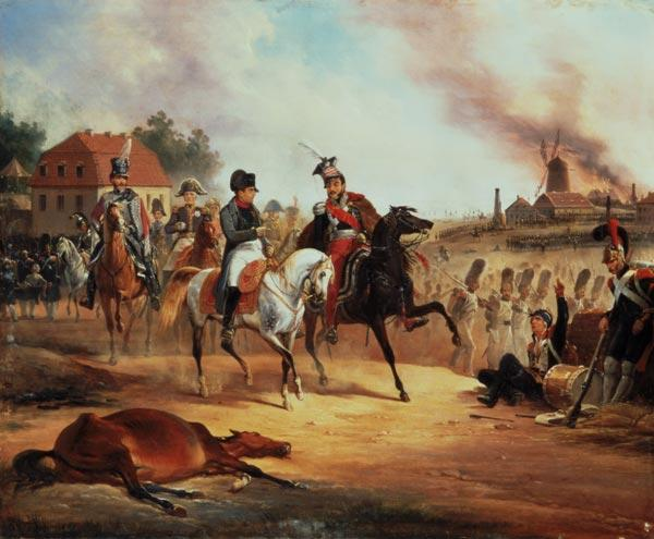 Napoleon and Prince Joseph Poniatowski at the Battle of Leipzig, 19th October 1813