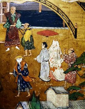 The Arrival of the Portuguese in Japan, detail of a street scene, from a Namban Byobu screen, 1594-1