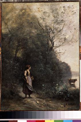 Shepherdess with a cow at the Edge of the Forest