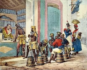 Manacled slaves buying tobacco from a Tobacco shop in Rio de Janeiro