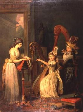 Harp lesson given by Madame de Genlis to Mademoiselle d'Orleans with Mademoiselle Pamela Turning the