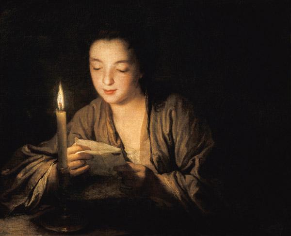 Mädchen, bei Kerzenlicht einen Brief les - Jean Baptiste Santerre  riproduzione stampata o copia dipinta a mano e ad olio su tela