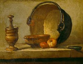 Still life with pestle, bowl, two onions, pan and knife