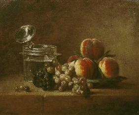 Fruit still life with lid jug