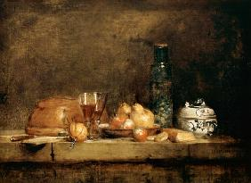 Still Life with Fruits and olive glass