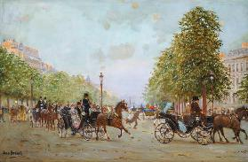 The Promenade on the Champs-Elysees (oil on canvas)