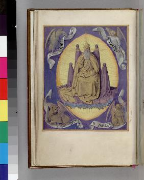 God the Father with symbols of the four Evangelists in the corners. (Book of Hours)