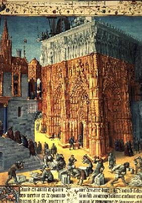 Building of the Temple of Jerusalem from an illuminated French translation of the original manuscrip