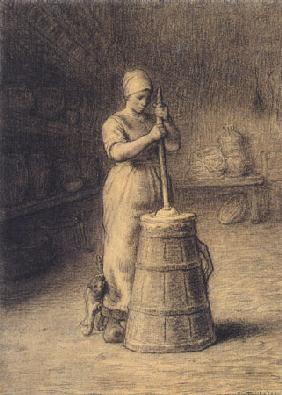 Woman who stirs butter up