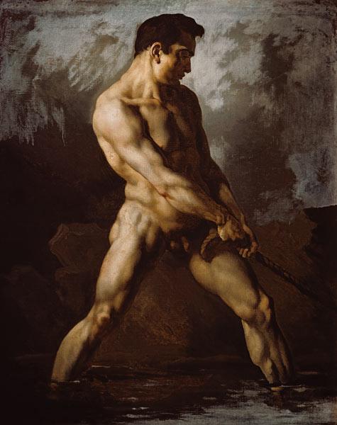Studio di nudo,uomo che tira la corda - olio su tela di Jean Louis ...