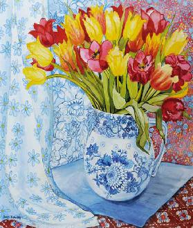 Red and yellow tulips in a Copeland jug